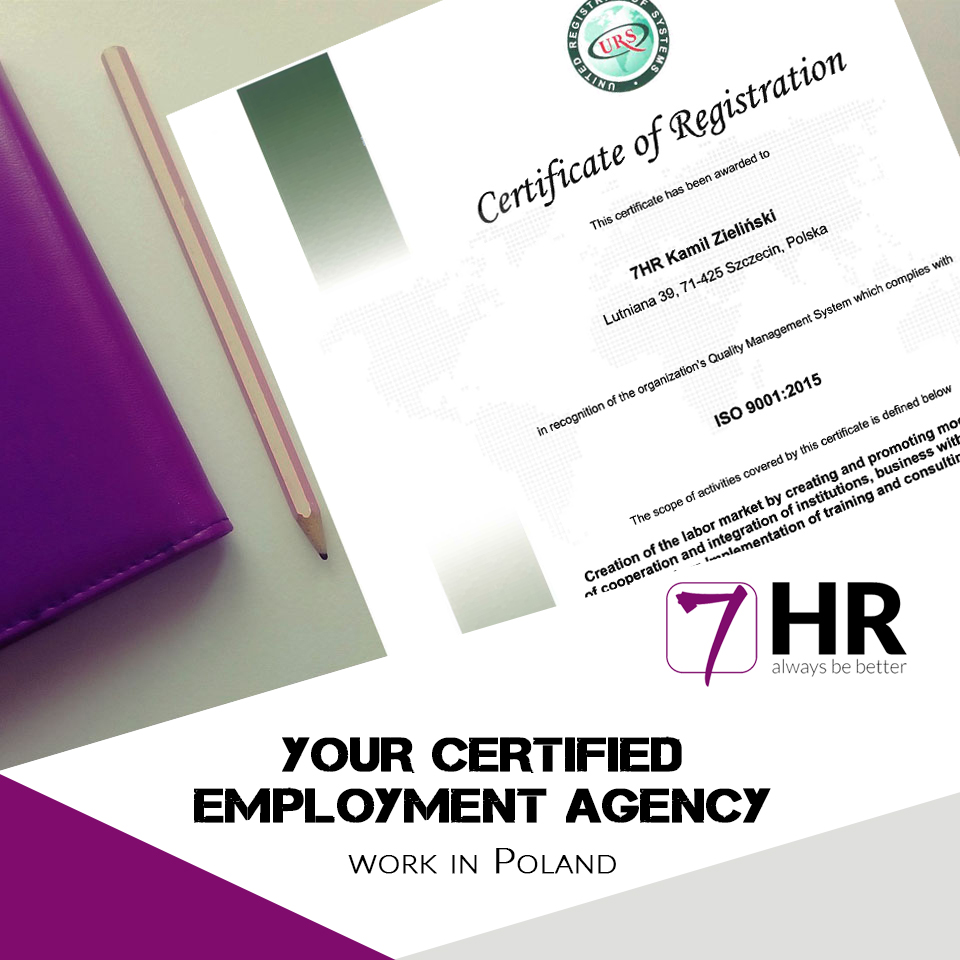 Do you know that 7HR Employment Agency is certified by ISO 9001:2015?